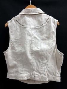 シャミーデポ chamois depo シャツジャケット ベスト 刺繍 リネン ストレッチ ノースリーブ グレー系 42 ☆☆ レディース