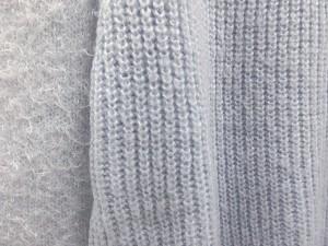エニィファム anyFam ニット セーター シャギー 切替 長袖 ウール混 パール ビーズ 装飾 青 ★★ レディース ベクトル【中古】