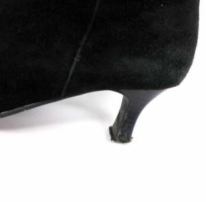 銀座ワシントン ロング ブーツ スエード リボン 黒 22.5 ※ET 171107 レディース