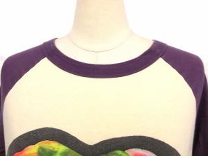 アールエヌエー RNA Tシャツ プリント 長袖 カットソー 白紫 M ※OA レディース