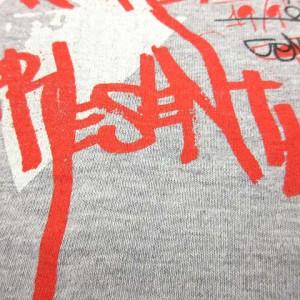 ビームスティ BEAMS T Tシャツ カットソー 長袖 プリント グレー 赤 黒 S ※SH 170707 メンズ