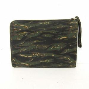 クラッチバッグ L字 キャンバス カモフラージュ 迷彩 緑 黒 茶 ※SH 170701 レディース ベクトル【中古】