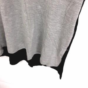 ユニクロ UNIQLO カットソー ロング バイカラー 半袖 グレー 黒 L ※ET 180319 メンズ ベクトル【中古】
