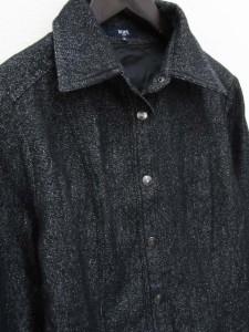 ロペ ROPE ジャケット シャツ シルク 混 ウール M ミックス ブラック  レディース