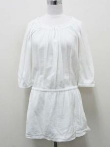 ジェイクルー J.CREW チュニック シャツ 七分袖 クレープ素材 XS 白  レディース