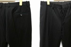 ジルサンダー JIL SANDER テーラーメイド スーツ ストライプ ウール 黒 茶 50 ブラック ブラウン 光沢 2釦 ジャケット パンツ メンズ