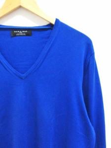 ザラマン ZARA MAN ニット セーター コットン ハイゲージ Vネック 青 ロイヤルブルー XL 長袖 無地 メンズ ベクトル【中古】