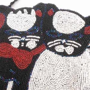 グレースイースタン GRACE EASTERN ハンドバッグ 猫 ネコ ビーズ ビジュー 黒 S-17102001 レディース