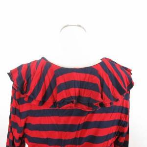 ラルフローレン RALPH LAUREN 長袖 Tシャツ ボーダー カットソー フリル ペプラムフリル 赤 ネイビー M ※M-17101622 レディース