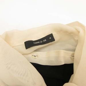 コムサイズム COMME CA ISM カットソー ブラウス 長袖 リボン装飾 シフォン地 黒 ベージュ M GP H-17081301 レディース ベクトル【中古】