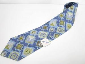 未使用品 マリクレール MARIE CLAIRE ネクタイ 総柄 シルク ブルー 青 水色 Y-180421 メンズ ベクトル【中古】