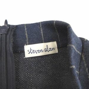 スティーブンアラン Steven Alan カットソー 七分袖 ストライプ柄 ネイビー H-18020224 レディース ベクトル【中古】