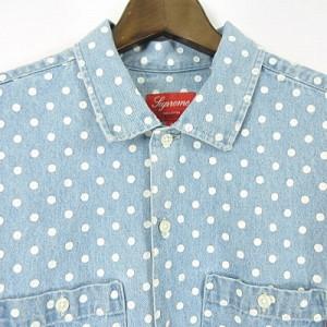 08f3447d18 SUPREME 18SS Polka Dot Denim Shirt Light Blue ドット デニム シャツ バックロゴ 半袖 ライトブルー S  メンズ ベクトル 中古
