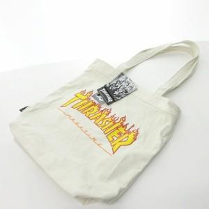 【中古】スラッシャー THRASHER タグ付き フレームロゴ ロゴプリント キャンバス トートバッグ A4収納可 マチ付き 白