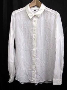 ユニクロ UNIQLO シャツ レギュラーカラー シンプルデザイン 長袖 白 M 1102HO レディース