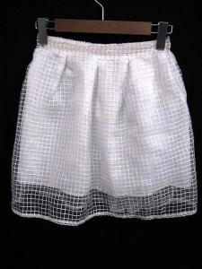 パークガール PARK GIRL フレア ミニ スカート シースルー チェック ホワイト 白 M 170711YK ベクトル【中古】