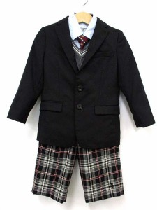 4516135517d9f コムサイズム COMME CA ISM 男の子用 キッズ スーツ セットアップ 5点 セット フォーマル チェック 黒 グレー