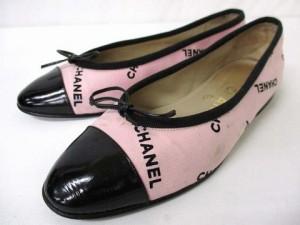 b2f2dffb531f シャネル CHANEL リボン バレエシューズ フラットシューズ ロゴ ピンク ブラック 37 23.0 シューズ 靴 レディース