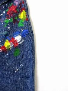 e4b9d9c1e89b8 【中古】ポロ ラルフローレン POLO RALPH LAUREN ポロシャツ ペイント デザイン 半袖 インディゴ M トップス レディース