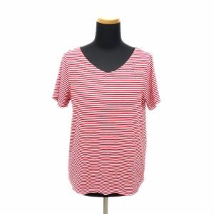 06edc5fec7876 イーハイフンワールドギャラリー ボーダー カットソー Tシャツ Vネック 赤 × 白 レディース j158