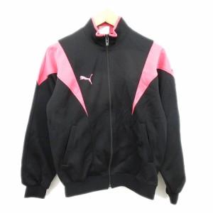 4dd98178ff9dc プーマ PUMA 90 s トラック ジャケット ブルゾン ジャージ ロゴ 刺繍 黒 ピンク 160 キッズ 子供 ジュニア