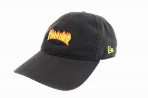 スラッシャー THRASHER ファイヤー パターン ロゴ キャップ 帽子 黒ブラック 中古▲ 190614 0004 メンズ