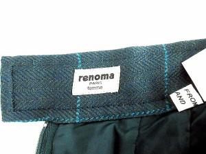 レノマ renoma ひざ丈 スカート チェック柄 ウール 緑 グリーン サイズ 38 裏地付き ボトムス 日本製 IBS レディース ベクトル【中古】