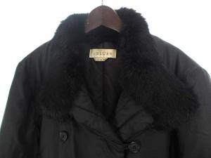 イブルース i Blues 中綿 コート 42 ブラック 黒 ファー付き ダブル シンプル Ω レディース ベクトル【中古】