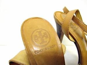 トリーバーチ TORY BURCH サンダル ミュール ハイヒール ベージュ 8 1/2 M ベクトル【中古】