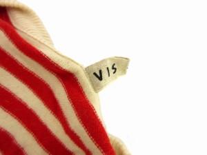 ビス ViS ニット カーディガン 長袖 ボーダー ビジュー アンゴラ 赤 ベージュ レッド L 0316  レディース ベクトル【中古】