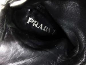 プラダ PRADA レザー ブーツ ハーフ ミドル ハイヒール 黒 ブラック 36.5 約23.5cm イタリア製 MMM Y レディース ベクトル【中古】