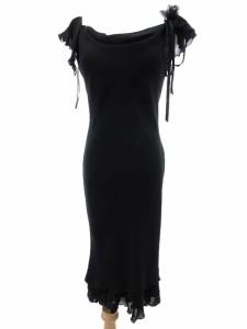 457ff655bce2c スコットクラブ SCOT CLUB ワンピース 半袖 ミモレ丈 パーティー ドレス フリル フラワー装飾 リボン 黒 ブラック