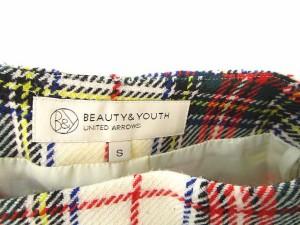 B&Y ユナイテッドアローズ BEAUTY&YOUTH ビューティー&ユース スカート チェック柄 ミニ丈 ウール S 白 赤 緑 レディース