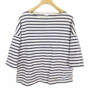 752433a8c8ee79 オーチバル ORCIVAL オーシバル バスクシャツ ボーダー Tシャツ オーバーサイズ 五分袖 半袖 F パープル