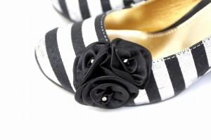 Drange Doufe パンプス 靴 ボーダー 柄 花 ウェッジソール ラウンドトゥ M グレー 灰 ブラック 黒 /BT40 SSAW レディー ベクトル【中古】
