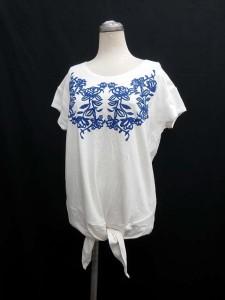 シンプリシテェ Simplicite カットソー 半袖 刺繍 白 ブルー ※II2402 171017 レディース
