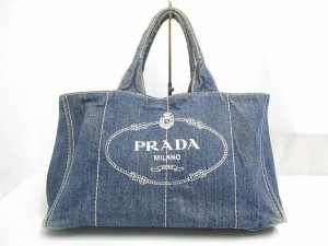 1c40d68e72c4 プラダ PRADA B1872B カナパ デニム トート バッグ AVIO 青系 キャンバス ハンド 保存袋 ギャランティー