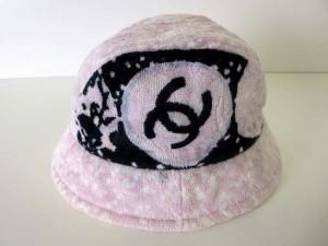 7ce8a749f6a6 シャネル CHANEL ハット クロッシェ 帽子 ぼうし ココマーク パイル M ピンク 黒 白 ブランド小物 ボウシ