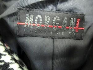 モルガンオム MORGAN HOMME トレンチコート ウール 千鳥チェック ロング ベルト アウター S 黒 ブラック 白 ホワイト Y86224 メンズ
