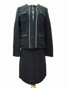 ハリス HARRISS paris スーツ ジャケット スカート セットアップ ツイード ラメ入り 36 青 ブルー S88956 レディース ベクトル【中古】