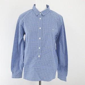 d72f3d6ce729c ヒューマンウーマン HUMAN WOMAN ギンガムチェック柄 シャツ ブラウス 長袖 2 M 青系 ブルー ロゴ