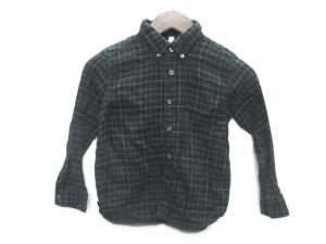 無印良品 シャツ 長袖 ボタンダウン チェック 120 緑 キッズ ベクトル【中古】