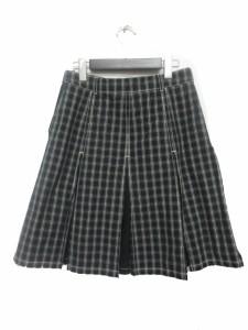 マックスマーラ MAX MARA スカート ミディアム丈 プリーツ チェック 40 黒 レディース ベクトル【中古】