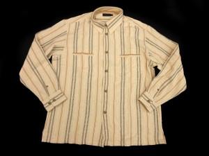 未使用品 ヴァンプス VUMPS シャツ 長袖 ストライプ柄 マルチ ベージュ 50 ※M- メンズ