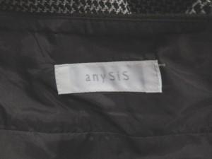 エニィスィス エニシス anySiS スカート 膝丈 フレア ラメ 千鳥格子 切替 3 茶色  レディース