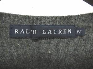 ラルフローレン RALPH LAUREN カーディガン 七分袖 無地 カシミア M グレー レディース
