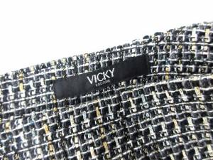 ビッキー VICKY スカート ミニ ツイード ウール 2 黒 ブラック系/B122 【中古】