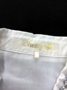 チェスティ Chesty ワンピース ひざ丈 フレア ビジュー ストライプ リボン 長袖 0 白 紺 /EK レディース