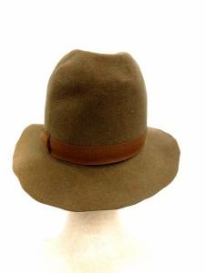 未使用品 ラ メゾン ド リリス La Maison de Lyllis ハット つば広 帽子 リボン ウール 57.5cm 茶 /YM レディース ベクトル【中古】