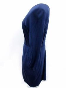 ランバンオンブルー LANVIN en Bleu ワンピース ひざ丈 七分袖 38 紺 /EK レディース ベクトル【中古】